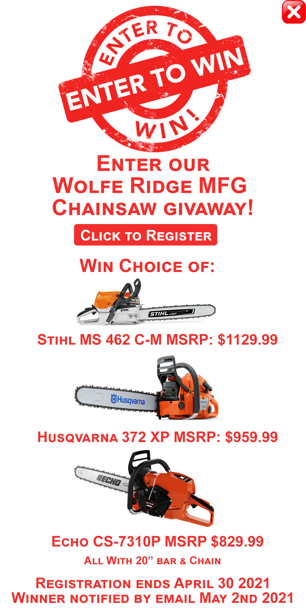 Register for Wolfe Ridge MFG Chainsaw Giveaway